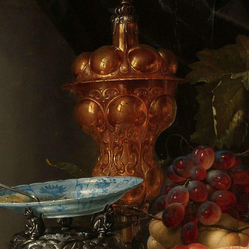Pieter de Ring, Still Life with a Golden Goblet, 1640–60, Rijksmuseum, Amsterdam, Netherlands. Enlarged Detail of Porcelain and Gold.
