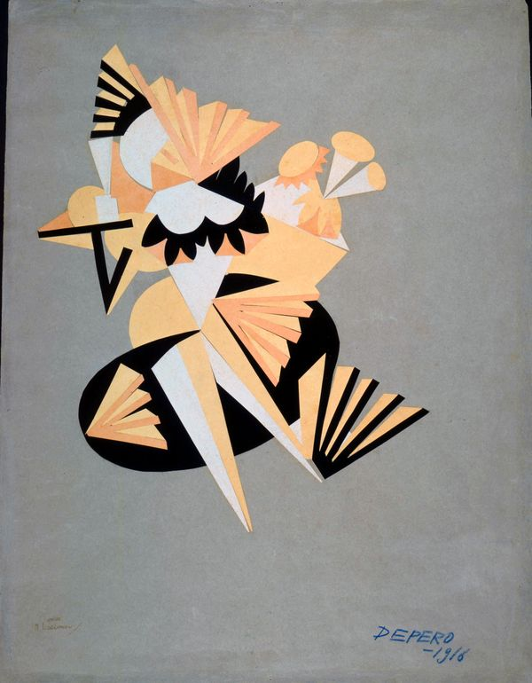 Futurist fashion: Fortunato Depero, A sketch for Mimismagia, 1916. Source: Pinterest.