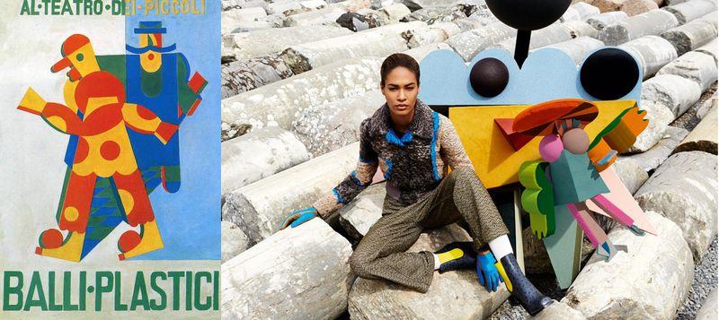 Fortunato Depero's Balli Plastici (Plastic dances) sketch and Missoni Autumn/Winter 2014 Campaign inspired by Depero.