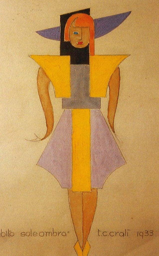 Futurist fashion: Tullio Crali, A sketch of the Abito sole ombra (shade sun dress), 1933.
