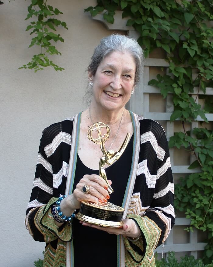 AWA Founder Jane Fortune with her Emmy Award for Invisible Women. Advancing Women Artists.