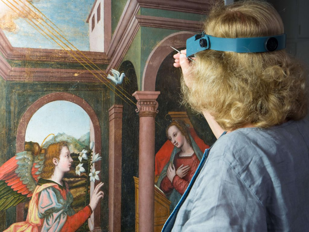 Advancing Women Artists: Annunciation by Plautilla Nelli during conservation by Rosella Lari