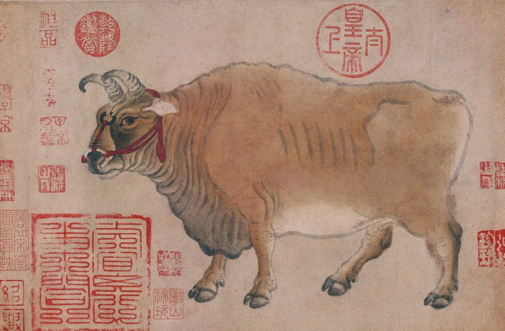 Han Huang (attr.) Five Oxen. Five oxen, with the ox with a rein looking depressed