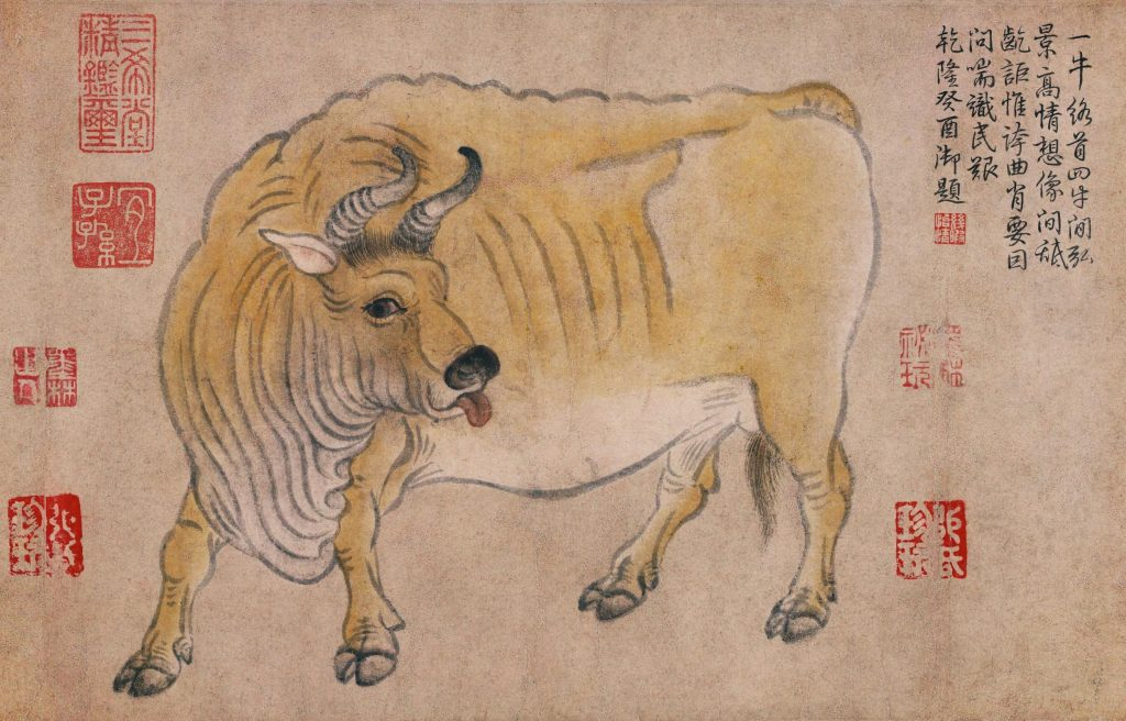 Han Huang (attr.) Five Oxen. five oxen, detail, ox sticking out its tongue