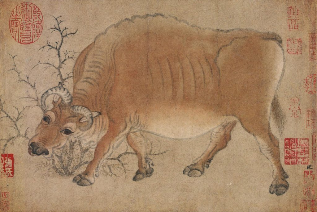 Han Huang (attr.) Five Oxen. Five oxen, detail, with the ox bowing its head