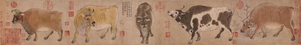 Han Huang (attr.) Five Oxen,Five Oxen, scroll, oxen stand in line, each has a different expression