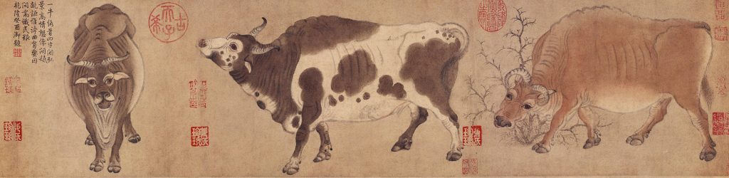 Han Huang (attr.) Five Oxen. five oxen, detail with three oxen, one bowing, another stretching its neck, and one looking directly at us