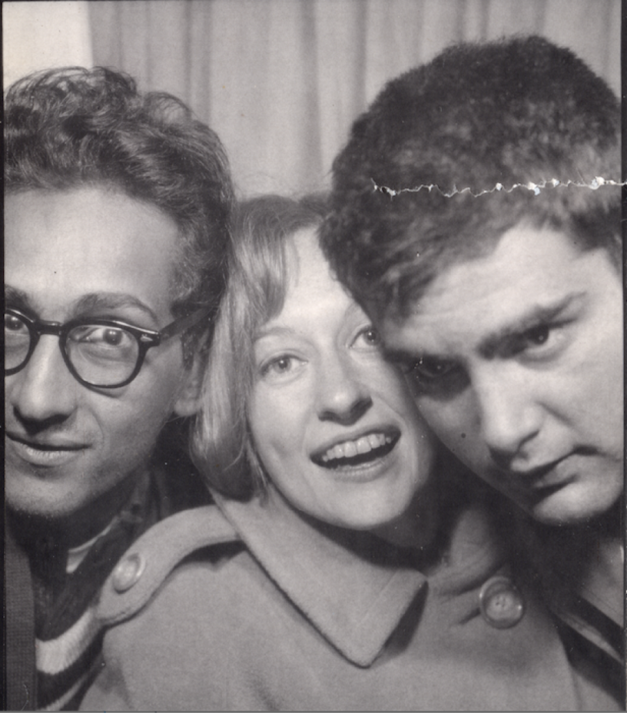 Barbara Rose, surrounded by Frank Stella (left) and Larry Poons (right)