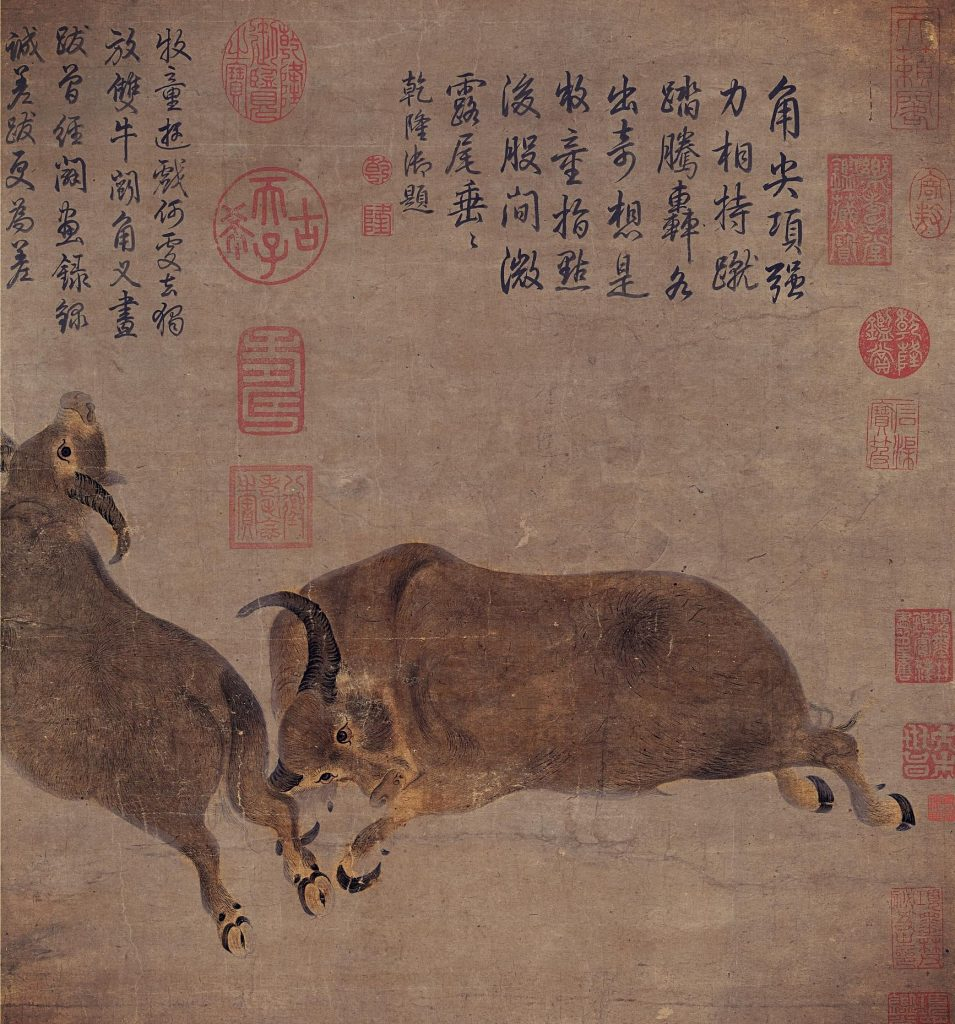 Dai Song, Bullfighting, 8th century, handscroll, National Palace Museum, Taipei, Taiwan.. two bulls fighting, one bull exerting force with its horns, another bull is trying to dodge the movement