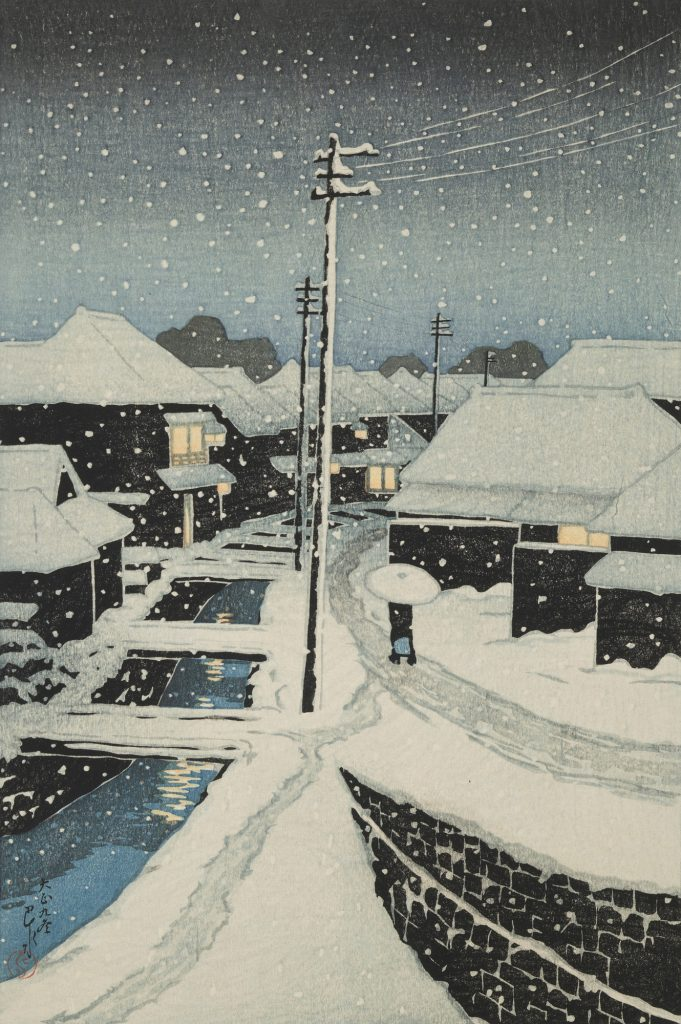 Hasui Kawase, Evening Snow at Terashima Village from 12 Scenes of Tokyo, 1920, Art Institute of Chicago, Chicago, IL, USA. Wikimedia Commons.
