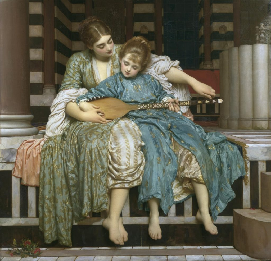 Best depictions of music in paintings: Frederic Leighton, The Music Lesson, ca. 1877, Guildhall Art Gallery, London, UK.