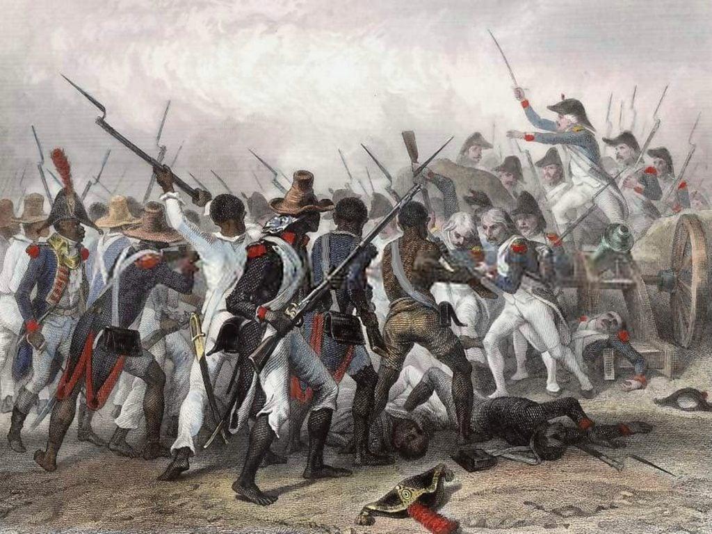Illustration depicting the Haitian Slave Revolt, Historie de Napoleon, M.De Norvins, 1839