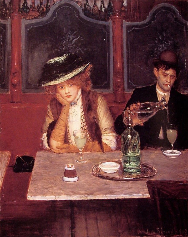 Jean Béraud, The Drinkers, 1908, oi on panel, private collection. Wikimedia Commons.