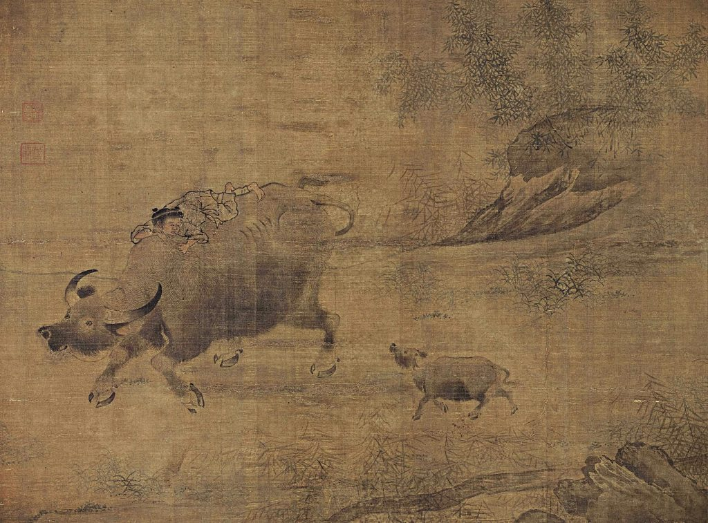 Li Tang, Oxen, wo oxen walking, the calf behind its parent, man is riding on the ox