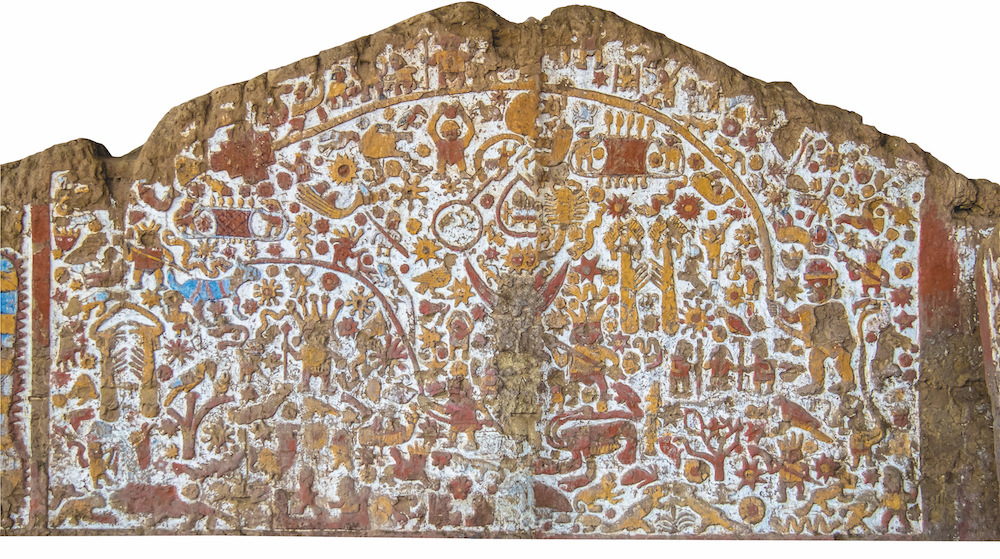 Moche Culture: Mural of Myths at Huaca de la Luna (Temple of the Moon) Trujillo, Peru. Museo Chileno de Arte Precolombino, Santiago, Chile.