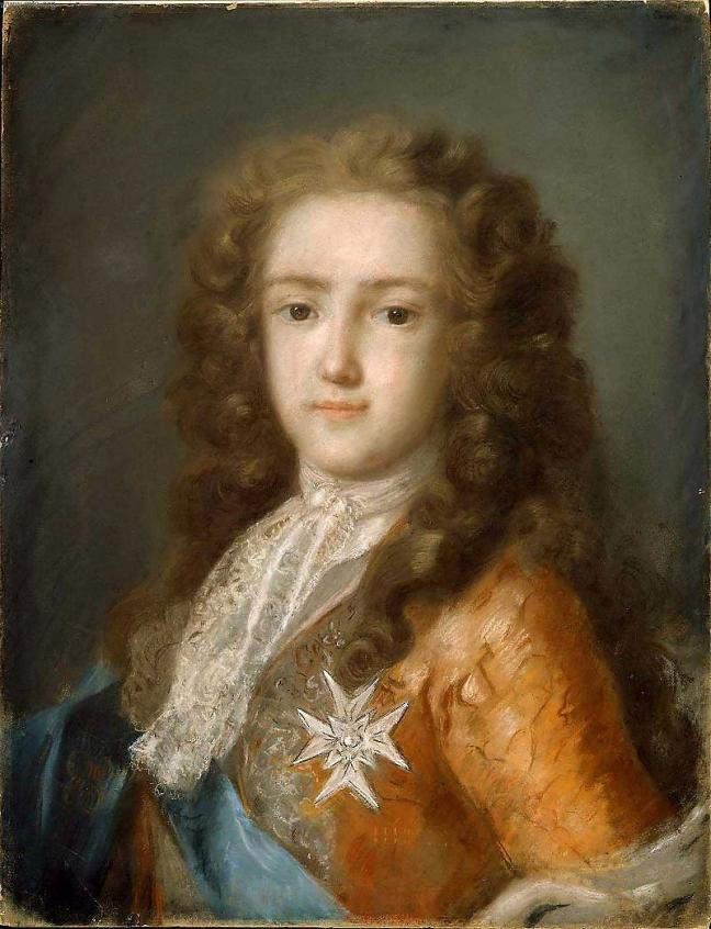Rosalba Carriera, Portrait of Louis XV as Dauphin. Portrait of Louis XV as a child. From the waist up. He wears royal cloths and look at the spectator.