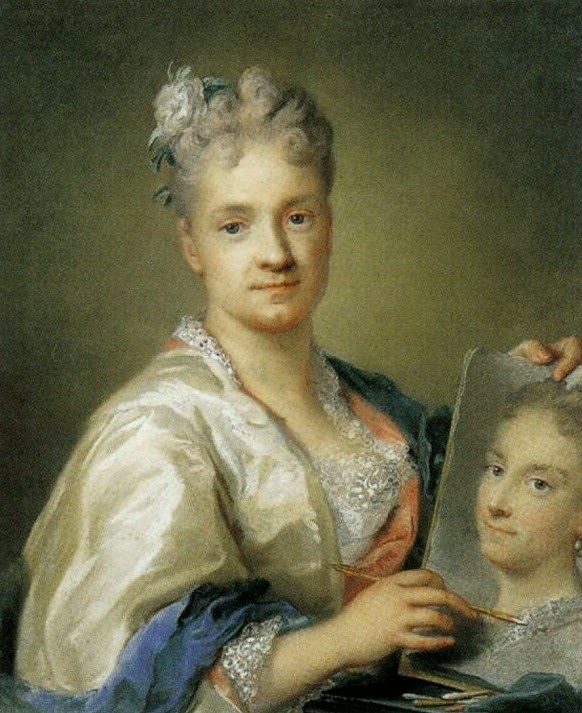 Self-Portrait of Rosalba Carriera from the waist up. She is painting a portrait of her sister.  Both figures are looking at the spectator.