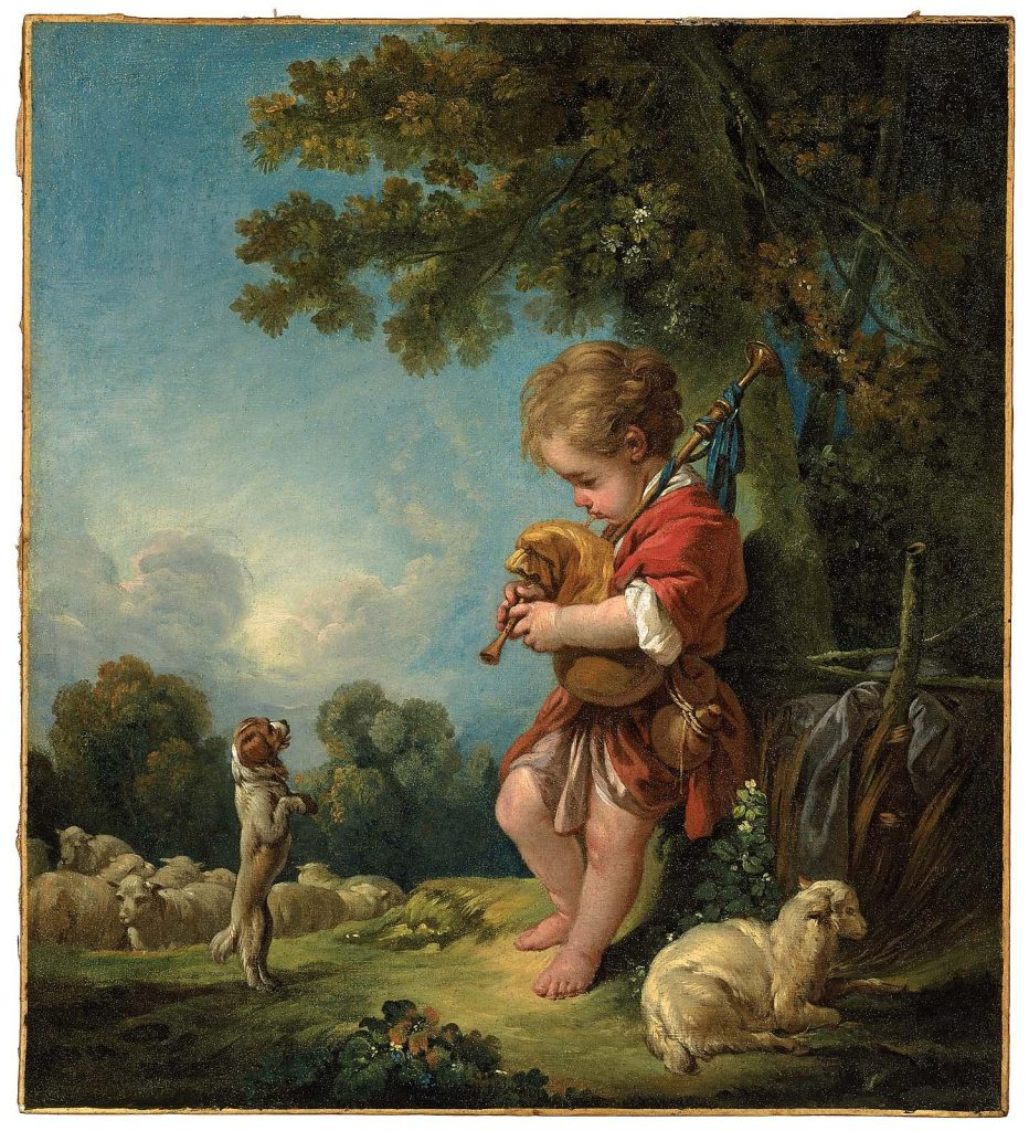 Best depictions of music in paintings: François Boucher, Shepherd Boy Playing Bagpipes, ca. 1754. Museum of Fine Arts, Boston, MA, USA.
