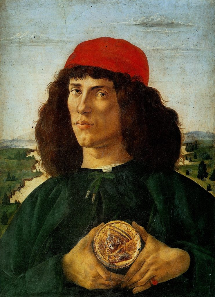 Sandro Botticelli, Portrait of a Man with a Medal of Cosimo the Elder, 1474-5, Uffizi, Florence, Italy