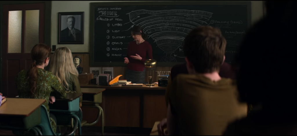 Beautiful Horrors: Art in the Chilling Adventures of Sabrina: Chalkboard art showing a map of Hell, Season 3, Episode 1, The Chilling Adventures of Sabrina, 2019.