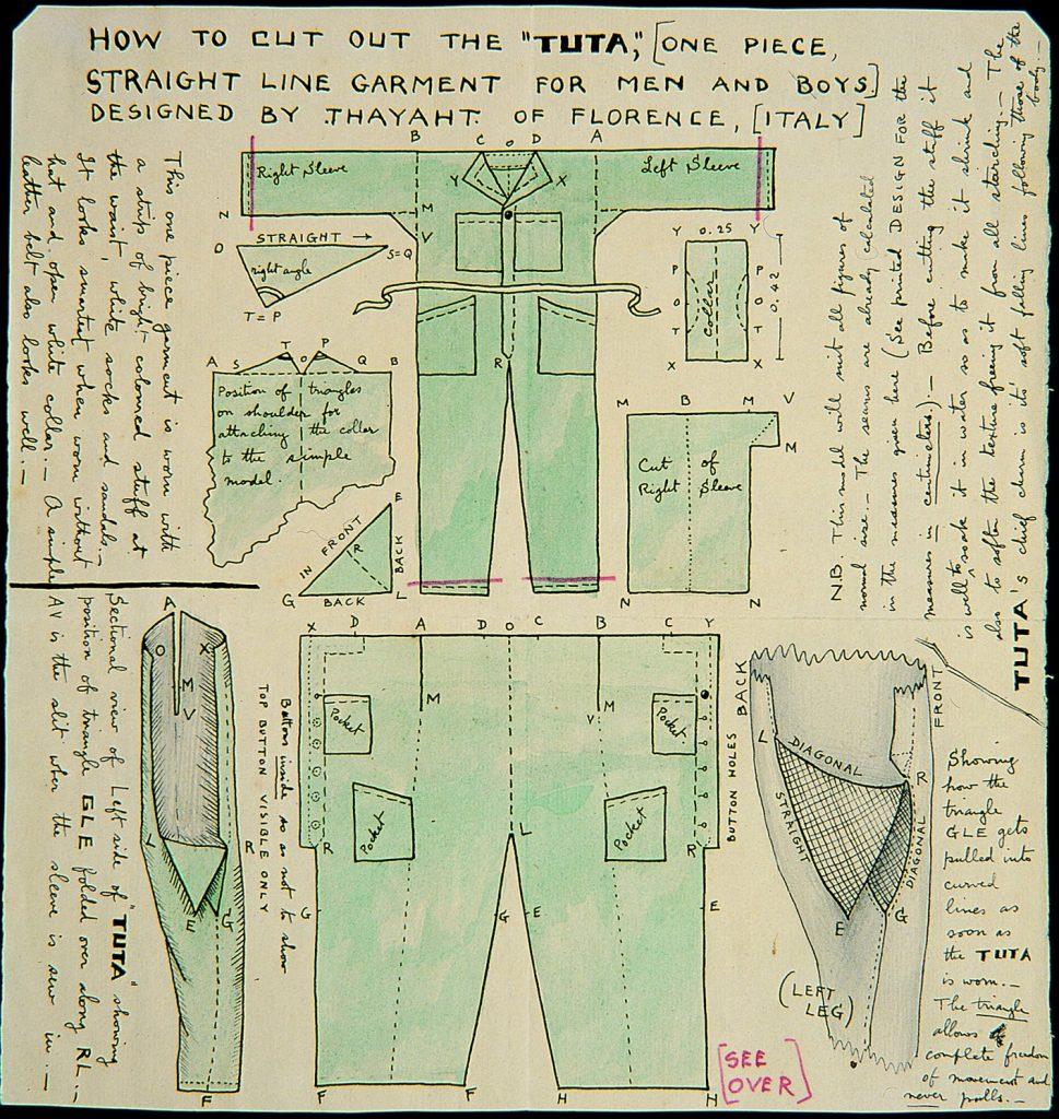 Futurist fashion: Thayaht, Tuta sewing pattern, 1920, La Nazione, Florence.