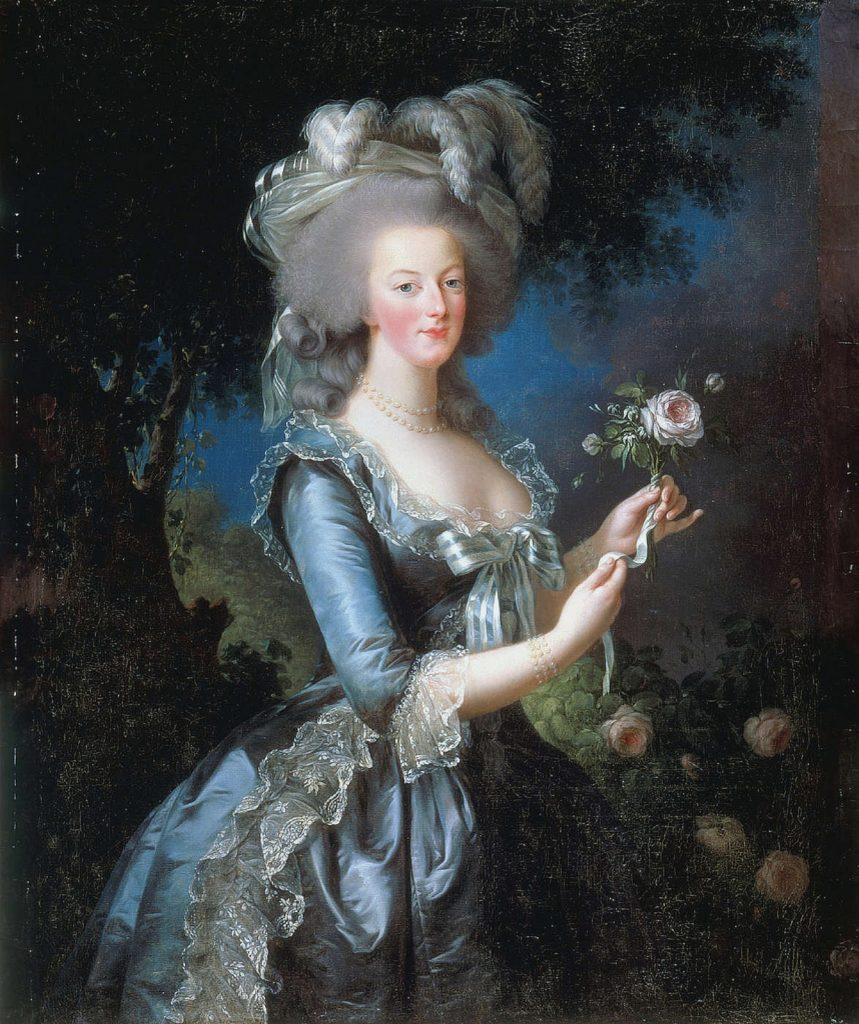Elizabeth Vigée-Lebrun, Marie-Antoinette with the Rose, Portrait of Marie-Antoinette standing in a garden at night. She holds a rose in her hands.