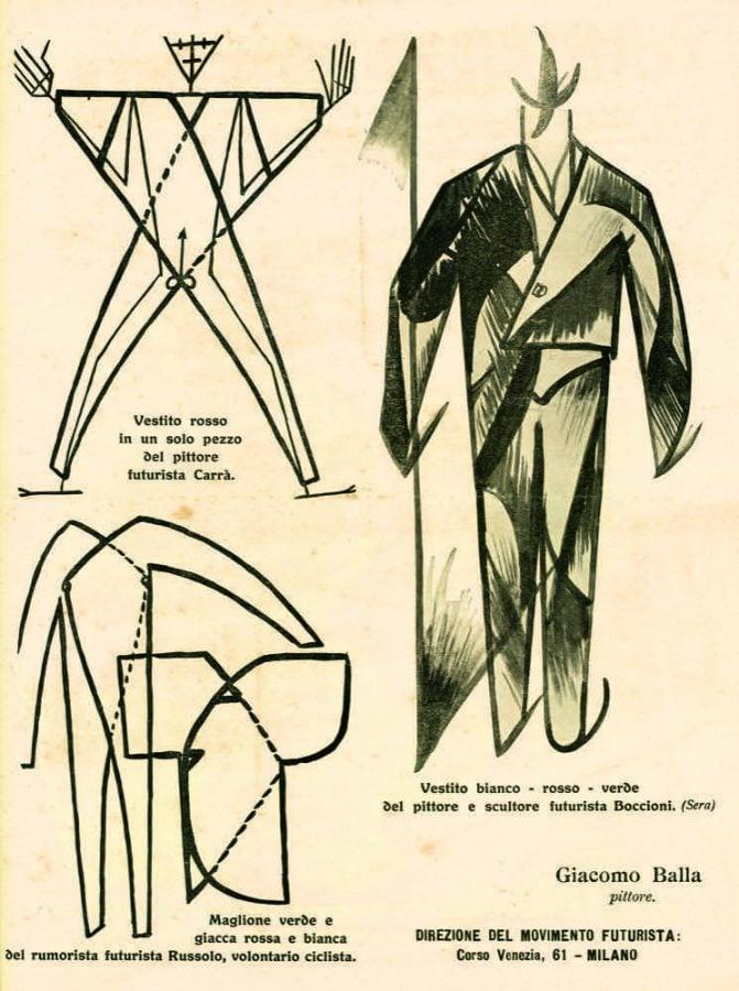 Futurist fashion: Giacomo Balla, Sketch for Il Vestito antineutrale Manifesto, 1914.
