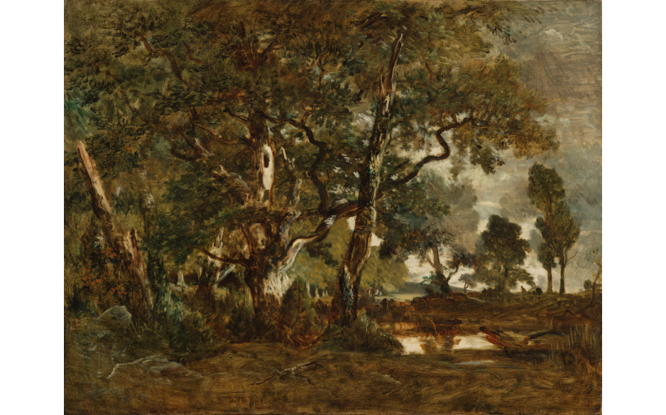 Barbizon School: Théodore Rousseau, Forest of Fontainebleau: Cluster of Tall Trees Overlooking the Plain of Clair-Bois at the Edge of Bas-Bréau, 1849-52, J. Paul Getty Museum, Los Angeles, CA, USA.