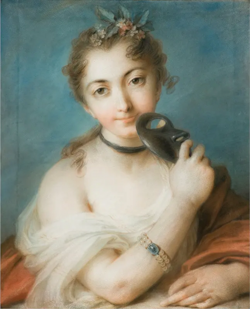 Rosalba Carriera, Portrait of a Woman with a Mask, Portrait of a young woman from the waist up holding a mask in her right hand. She is dressed with a floaty red and white dress and wears a pearl bracelet.