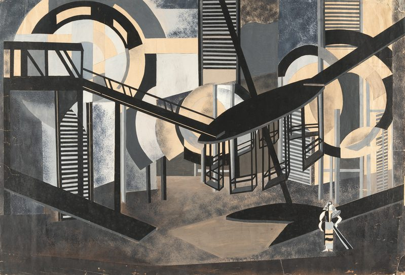 Alexandra Extrer, Projet de décor de la Dame Duente de Pedro Calderon de la Barca (production de Alexandre Taïrov pour le Théatre de Chambre de Moscou), 1924 gouache on paper, Artsy.