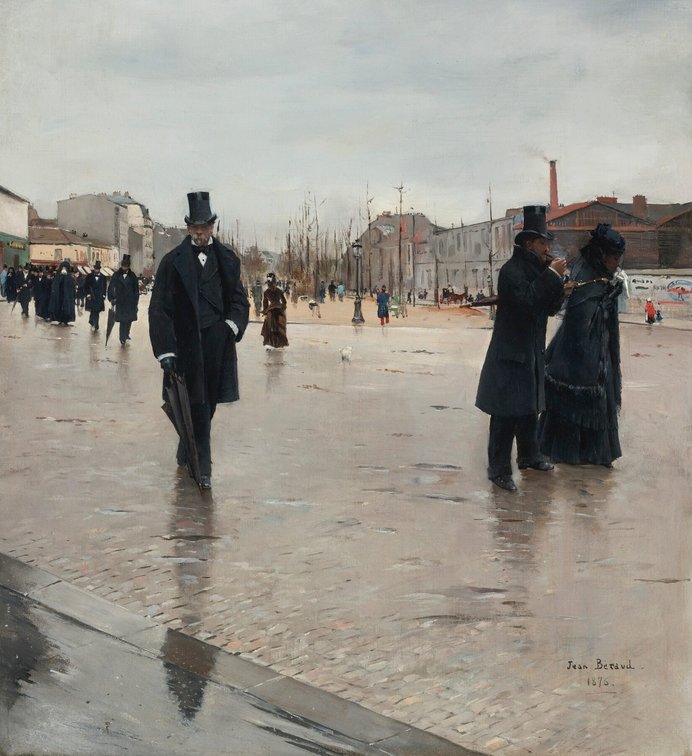 Jean Béraud, Leaving Montmartre Cemetery, 1876, oil on canvas, private collection. Sotheby's.