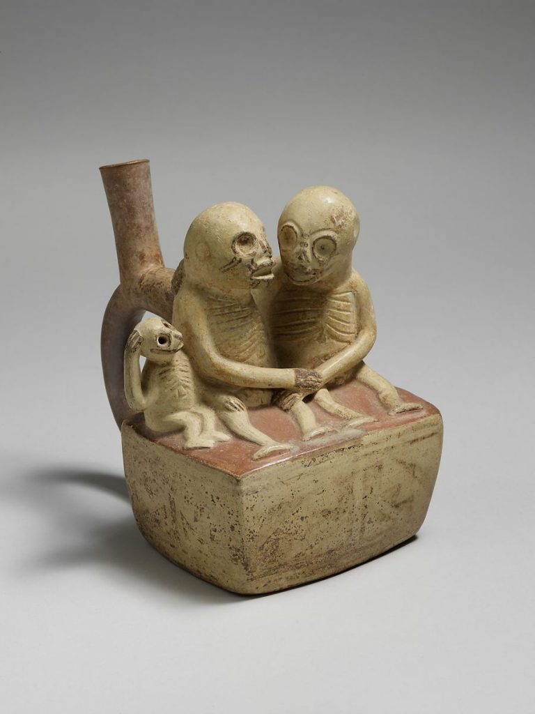 Bottle, Skeletal Couple with Child, 3rd-7th century, ceramic, Moche, Peru. Metropolitan Museum of Art, New York, NY, USA.