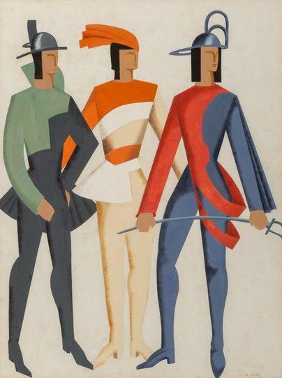 Alexandra Exter, Trois Hommes - Don Juan, 1929, gouache over pencil on paper, Artsy.