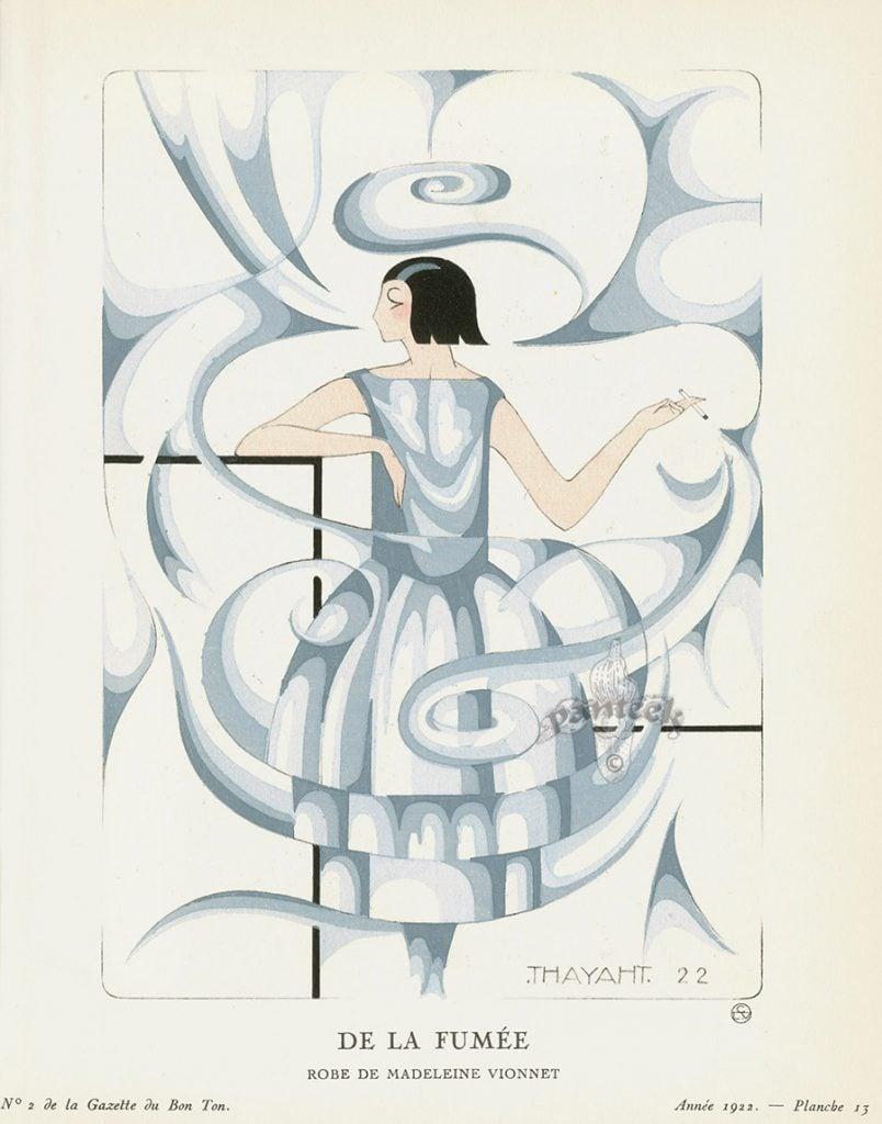 Futurist fashion: Thayaht's illustration titled De la Fumée, 1922, Gazette du Bon Ton.