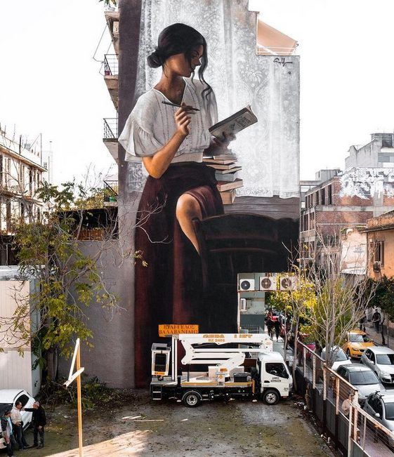 The Best Street Art in Athens. SimpleG, So many books, so little time, 2019, 2, Megalou Alexandrou street, Athens.