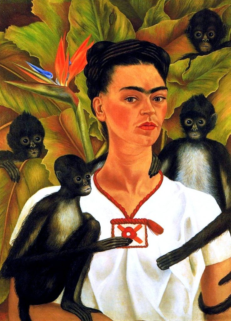 Frida Kahlo and the Symbolism in her Art: Frida Kahlo, Self Portrait with Monkeys, 1943, private collection.
