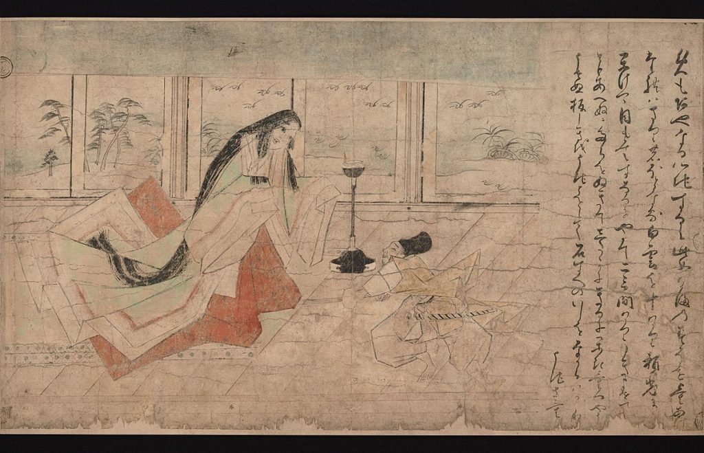 Spiders in art: Yorimitsu strikes at the beautiful woman, Tsuchigumo emaki 土蜘蛛絵巻 (Earth Spider Picture Scroll), second-generation copy of the handscroll painting, Tosa Nagataka School, 1825, Tokyo National Museum, Tokyo, Japan.