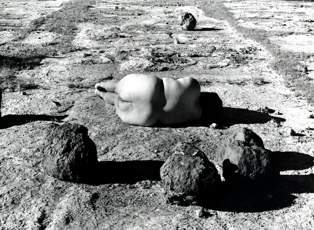 Body in the Art: Laura Aguilar, Nature Self-Portrait #2, 1996, gelatin silver print, courtesy of the Laura Aguilar Trust of 2016, jointly acquired by the Vincent Price Art Museum Foundation and the Los Angeles County Museum of Art.