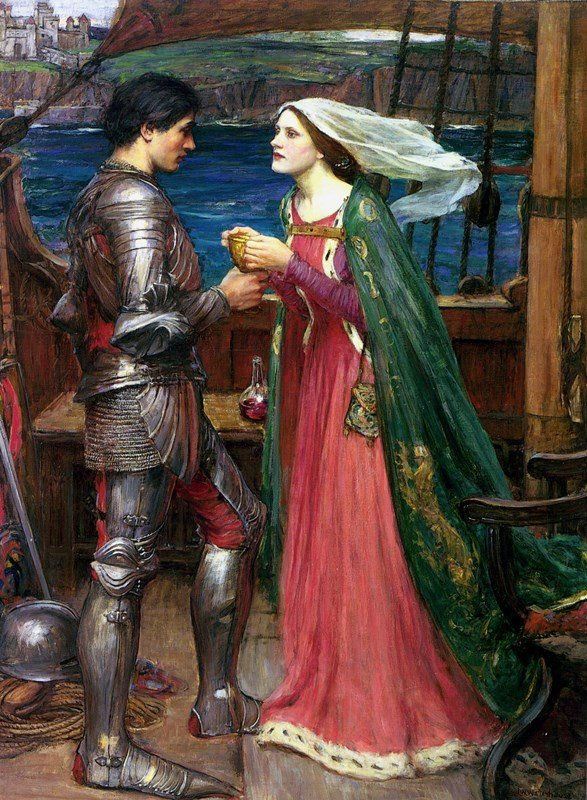 Opera in Art: John William Waterhouse, Tristan and Isolde with the Potion, Isolde and Tristan, who is dressed in full armor, stand on the ship, as she offers him the poisoned cup