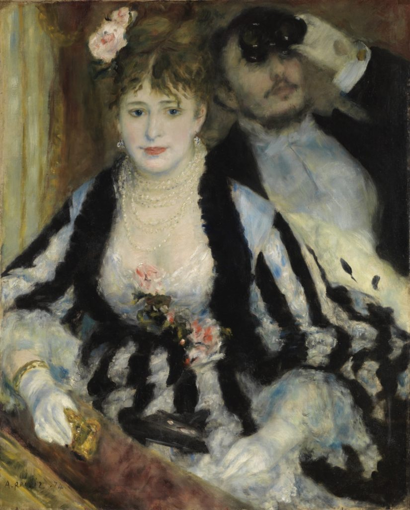 Opera in Art: Pierre Auguste Renoir, La Logue. A couple in fancy dress look at a performance from their theatre box