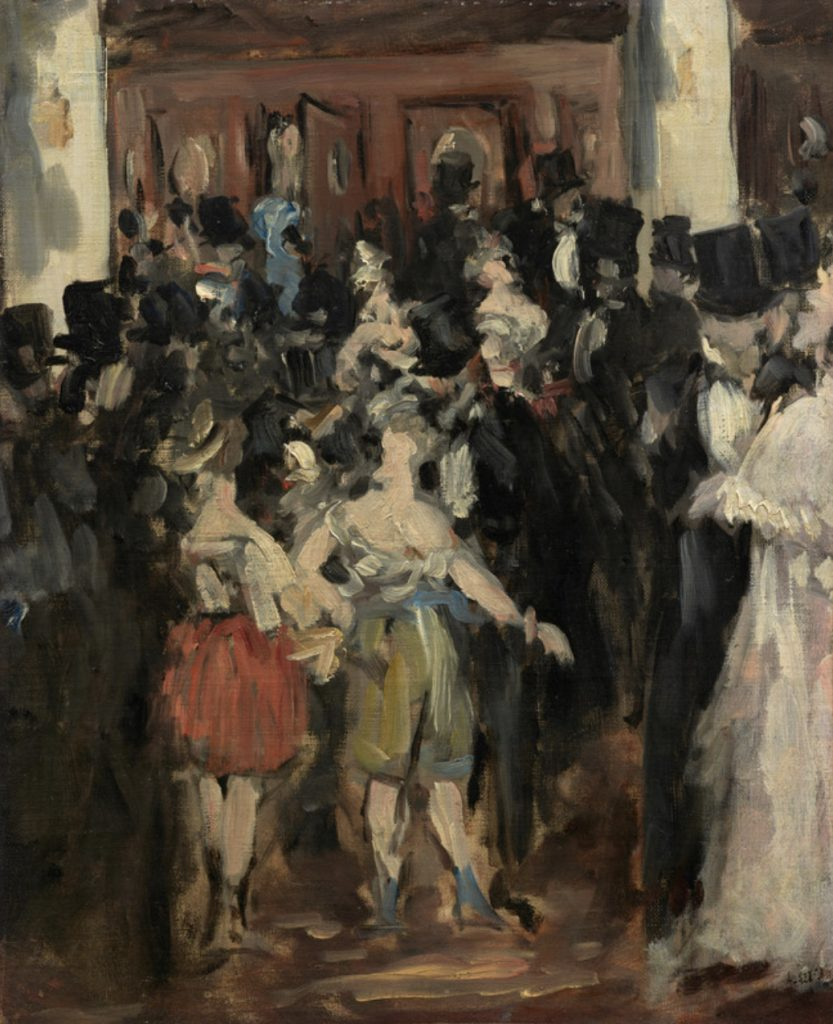 Opera in Art: Édouard Manet, Masked Ball at the Opera, a party portrayed in an impressionistic style, colors in the family of ochre, green, brick, black, white