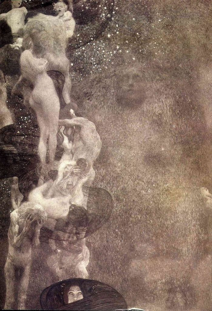 Opera in Art: Gustav Klimt, Philosophy, Ceiling Panel for the Great Hall at Vienna University, detail showing bodies writhing, on top of each other, while at the bottom a woman stares at the viewer
