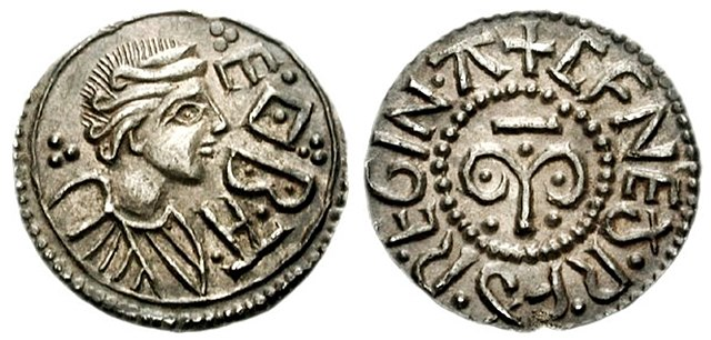 Great Queens of History: Cynethryth of Mercia coin, c. 780