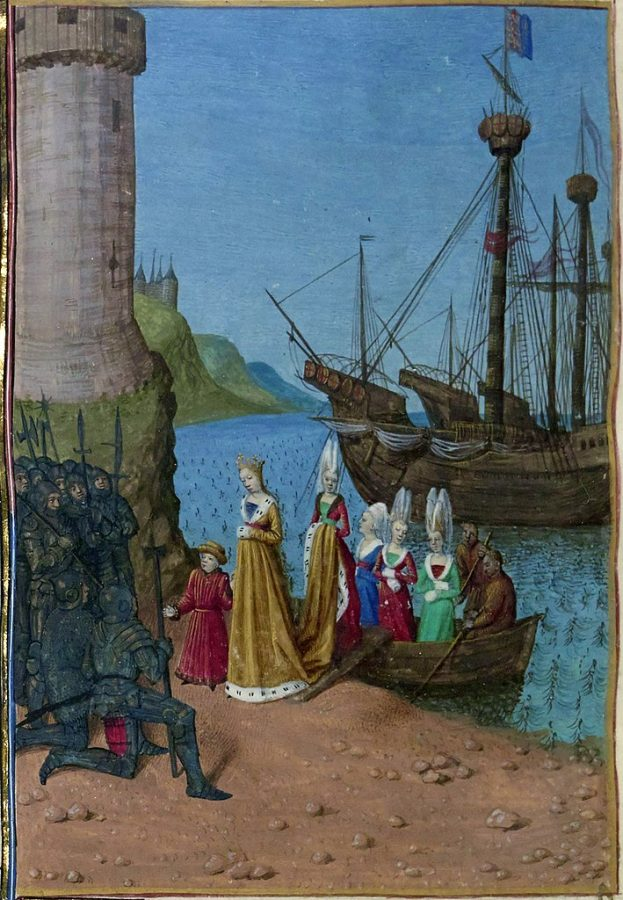 Great Queens of History: Jean Fouquet, Isabelle arriving in England, detail from Grandes Chroniques de France Enluminées manuscript, 1460, National Library of France, Paris, France.
