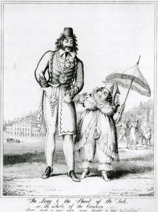 George Cruickshank, The long and the short of it, engraving mocking Caroline and her lover, 1821.
