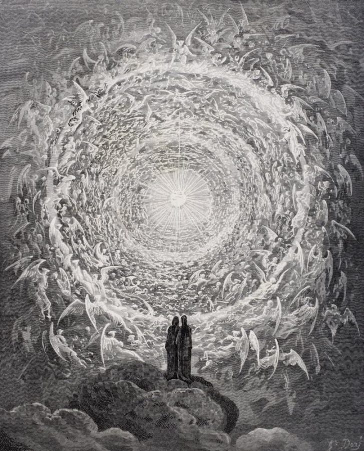 Gustave Doré, Rosa Celeste: Dante and Beatrice gaze upon the highest Heaven, The Empyrean, Canto XXXI., Paradise, year unknown.