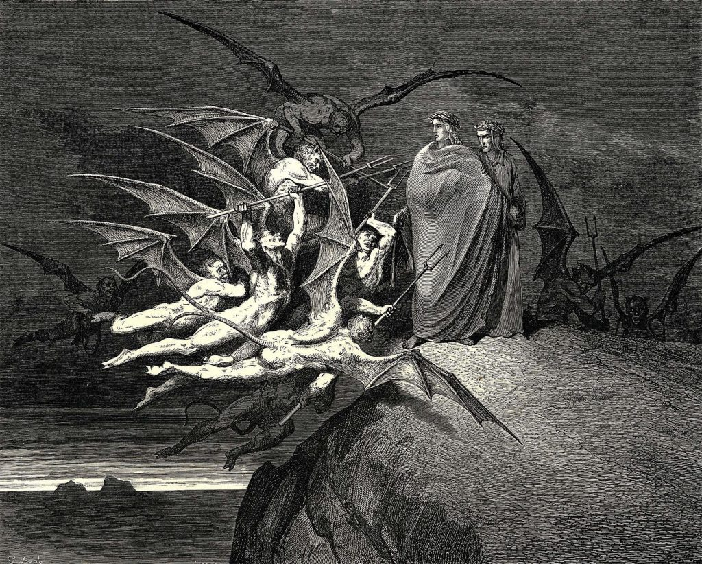 Gustave Doré, Dante and Virgil beset by demons while passing through the Hell, Canto XXI., Inferno, 1861