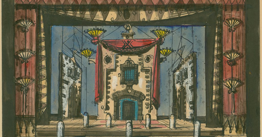 Opera in Art: Eugene Berman, Set Design for The Barber of Seville, sketch showing a house with a balcony that features on the first scene of the opera