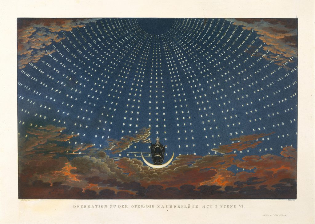 Opera in Art: Karl Friedrich Thiele, Design for The Magic Flute, the Queen of the Night is the main figure, standing in the middle of a vault of stars