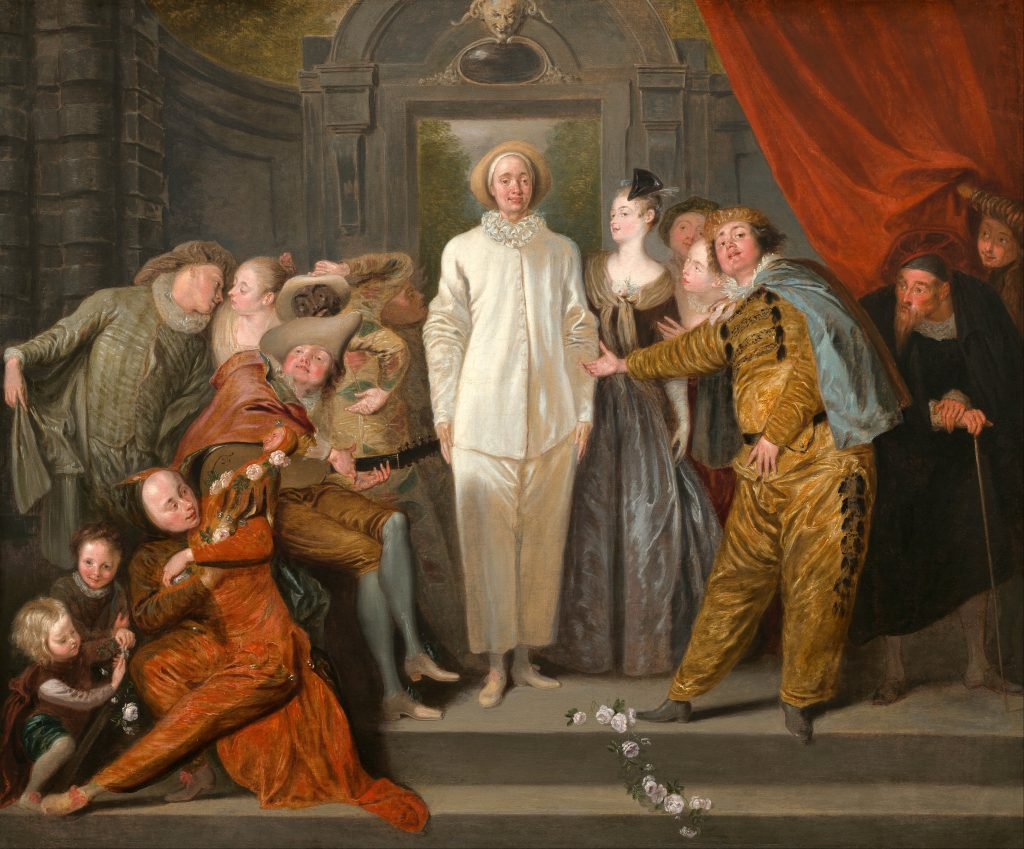 Commedia dell'arte characters in art: Antoine Watteau, The Italian Comedians, circa 1720, National Gallery of Art, Washington DC, USA.